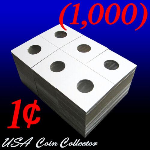 1000 Penny Size 2x2 Mylar Cardboard Coin Flips for Storage1 Cent Bulk