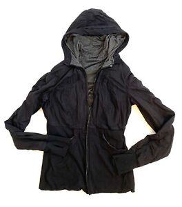 Lululemon-Jacket-Womens-Size-6-Black-Reversible-Athletic-Hooded-Jacket
