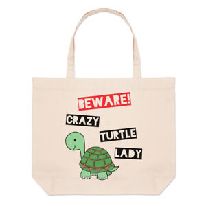Beware-Crazy-Turtle-Lady-Large-Beach-Tote-Bag-Funny-Shopper-Shoulder
