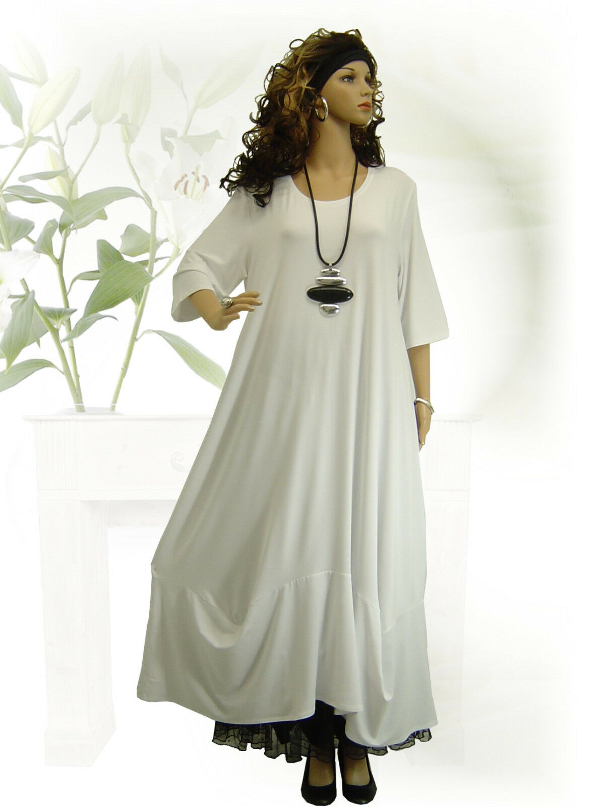 PoCo DeSiGn LAGENLOOK Kleid Ballonkleid weiß L-XL-XXL-XXXL 44 46 48 50 52 54 56