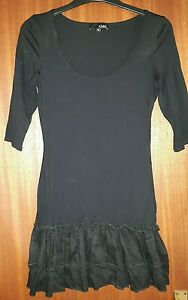 Asos-short-3-4-sleeve-cotton-evening-Party-bodycon-dress-black-size-8
