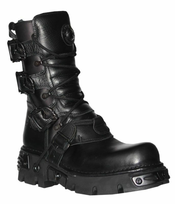 NEW ROCK 391-S18 Black Metallic Reactor Goth Real Biker Unisex comfortable Boots
