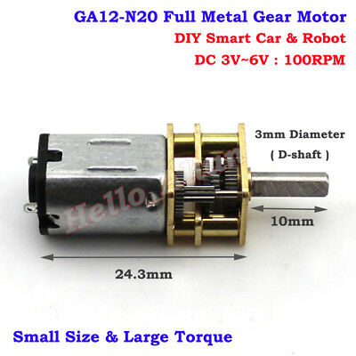 10mm DC 3V-6V Mini N20 Full Metal Gearbox Gear Motor Speed Reducer DIY Robot Car