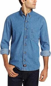 Dickies-Men-039-s-Denim-Work-Shirt-Long-Sleeve-Button-Up-Stonewashed-Indigo-Blue