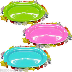15-5-034-Tropical-Luau-Pink-Green-Blue-Plastic-Snack-Serving-Tray-Platter