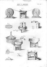 Stampa antica PRODUZIONE CANDELE CERALACCA lavorazione CERA 1848 Old print