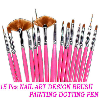 15 Pcs Nail Art Acrylic UV Gel Design Brush Set Painting Pen Tips Tools kit