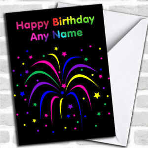 Image Is Loading Rainbow Fireworks Customized Birthday Greetings Card