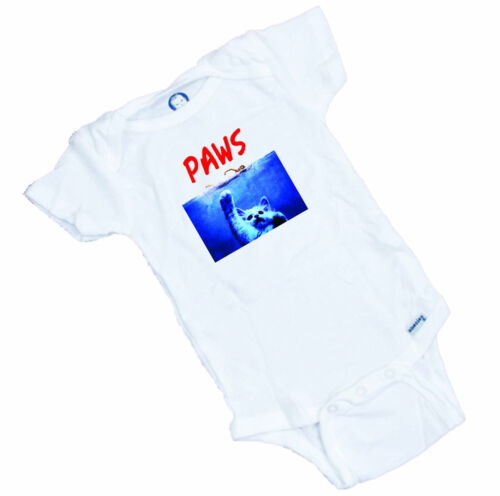 PAWS  Funny spoof  on the JAWS movie cute romper Onesie or Tee Shirt