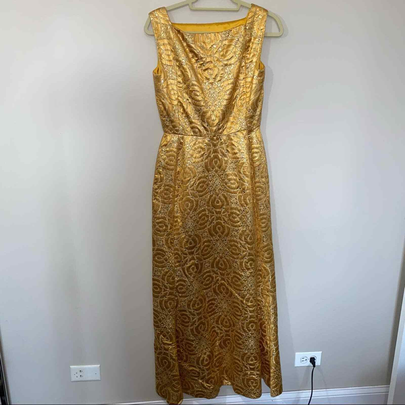 80s Vintage Scaasi Boutique Bombshell Gold Maxi D… - image 8