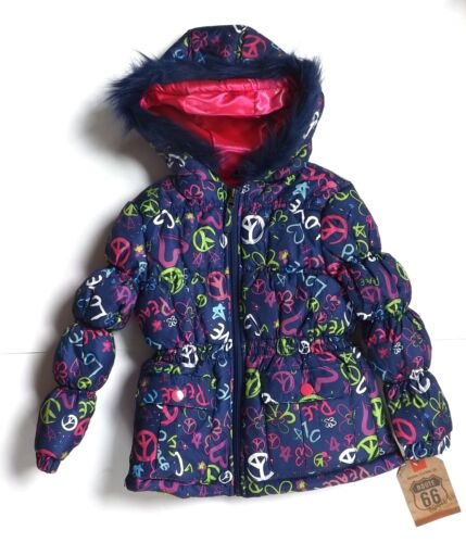 Navy with Peace Love Hearts Flowers Graffiti Pink Route 66 Girls Hooded Jacket