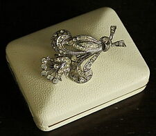 Vintage Silver Tone with White Rhinestones Brooch Boxed