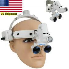 25x Dental Loupes Surgical Binocular Glass Magnifier Led Headlight Headband Us