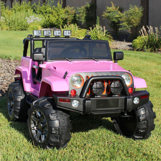 Ride On Car 12v Kids Power Wheels Jeep Truck Remote Control RC Lights Music Pink