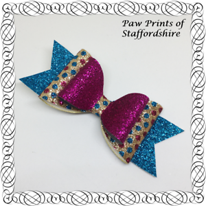 Turquoise Pink /& Gold Spotty Glitter Hair Bow On Alligator Clip