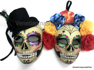 Black Red Masquerade Pair Full Face Mask Day of the Dead Costume Wear or Deco
