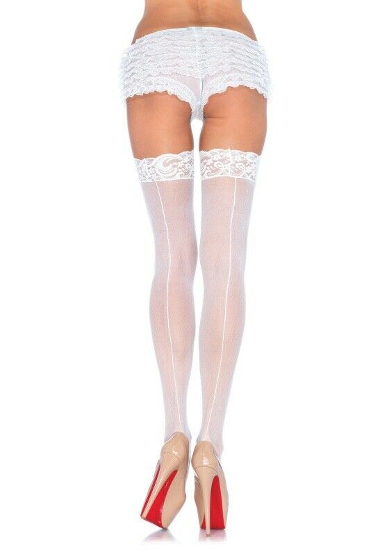 Leg Avenue White Sheer Lace Top Stockings with Backseam