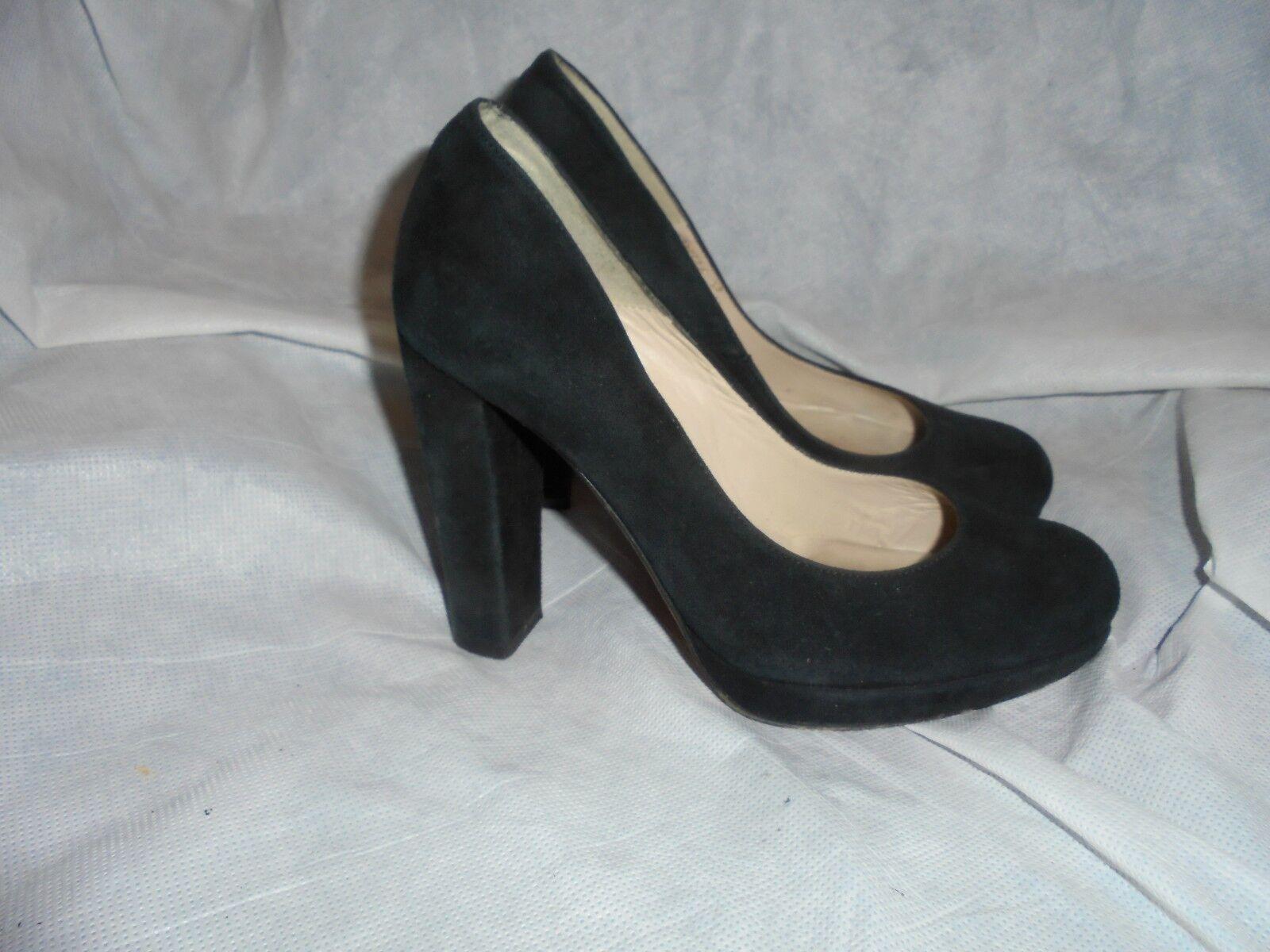 L.K. BENNETH femmes noir SUEDE LEATHER SLIP ON HEEL chaussures   Taille  UK 4 EU 37  VGC