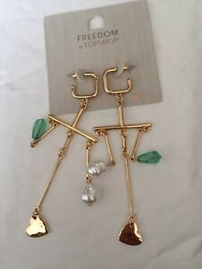 Freedom At Topshop Green Pearl Heart Earrings