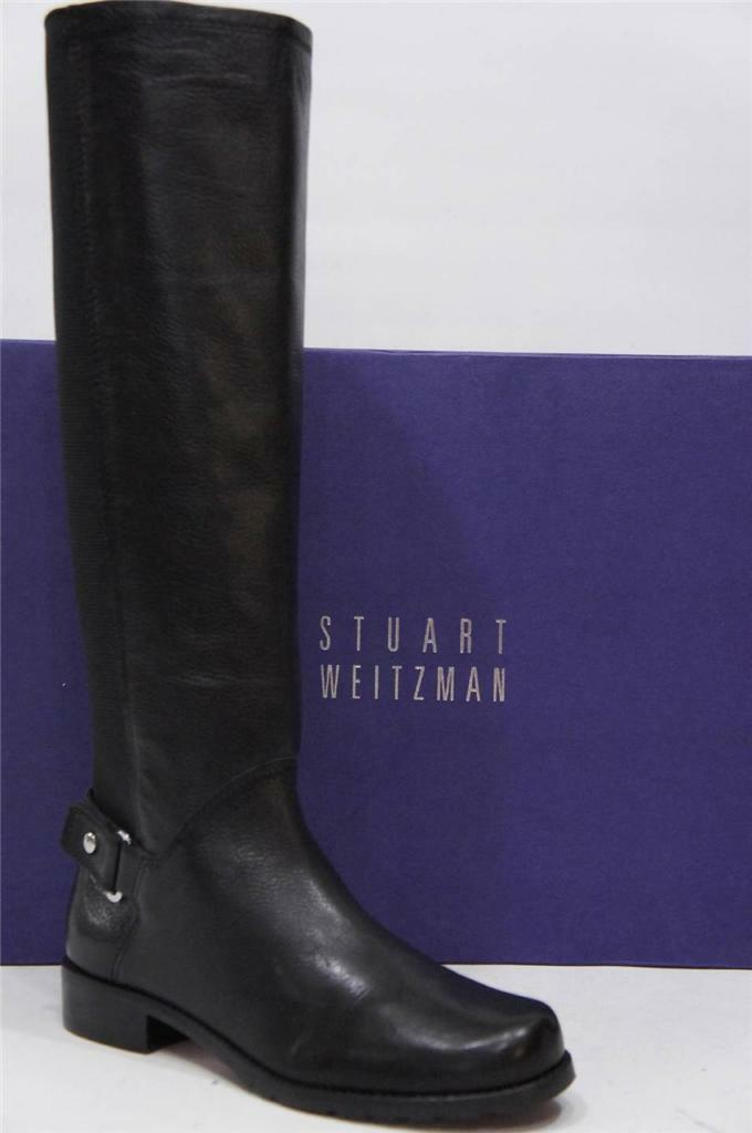 STUART WEITZMAN ACCUMULATE BLACK LEATHER BOOTS SHOES  5  625