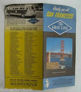 Vintage Travel Brochure For Touring San Francisco By Grey Line 1950's
