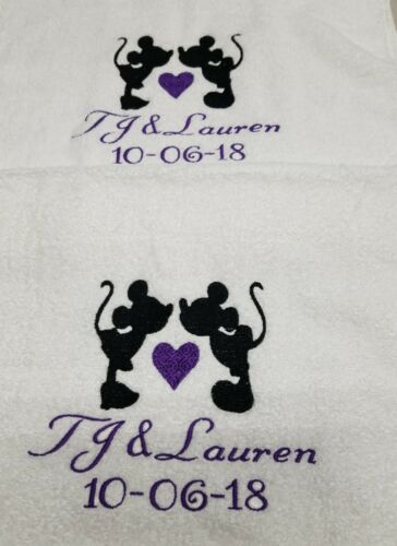 Personalized Wedding Towel Gifts Wedding Mickey /& Minnie Mouse Towel Set