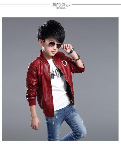 Kids Faux Leather Bike Jacket Boy//Girl Leather Jacket Size 3-16 Years Deluxe