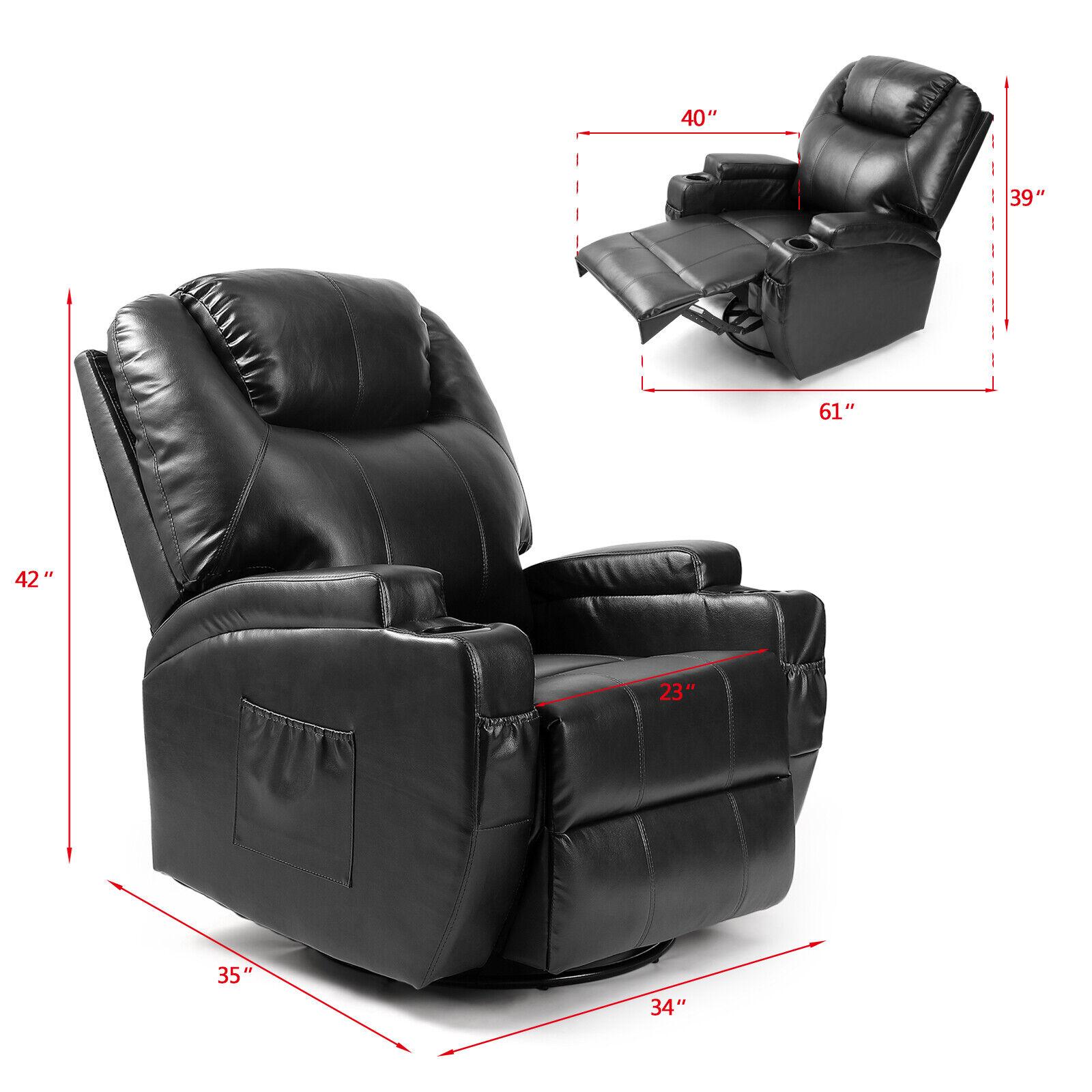 Strange Full Body Massage Recliner Chair Leather Vibrating Heat Lounge 3600 Swivel Black Short Links Chair Design For Home Short Linksinfo