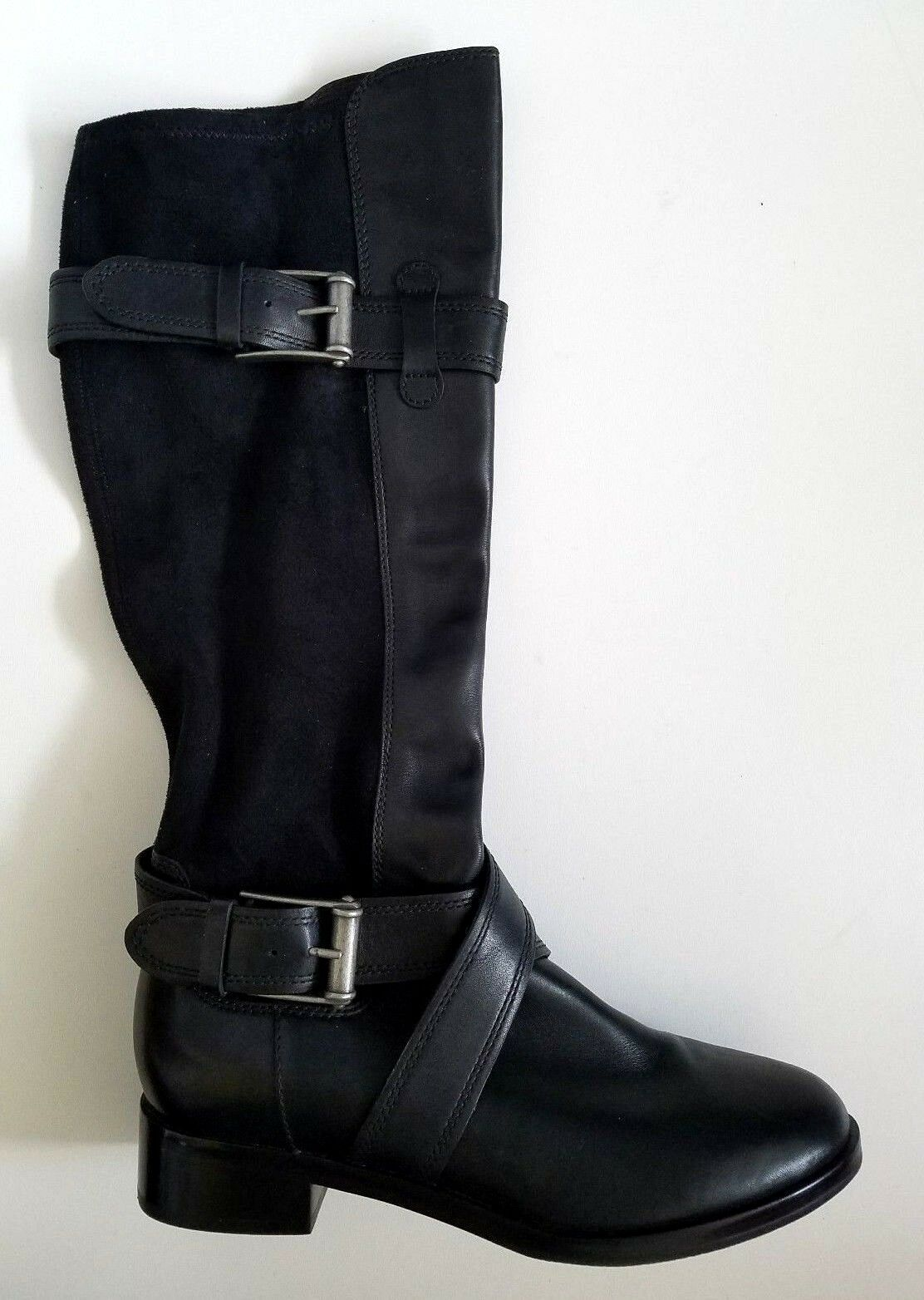 Cole Haan NikeAir Black Black Black Tall Boots Leather Fabric Buckle Size 7B NEW 020342