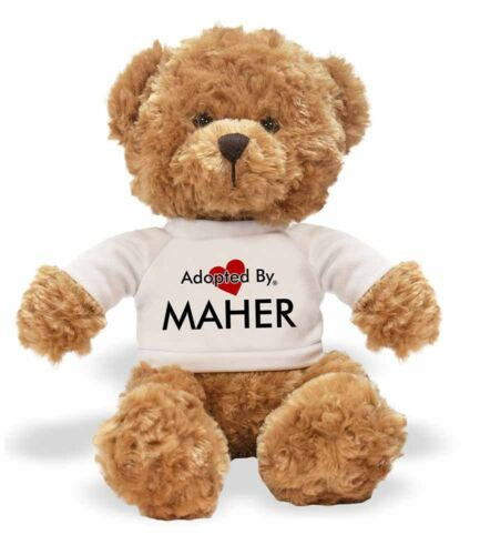 Adopted By MAHER Teddy Bear Wearing a Personalised Name T-Shirt,