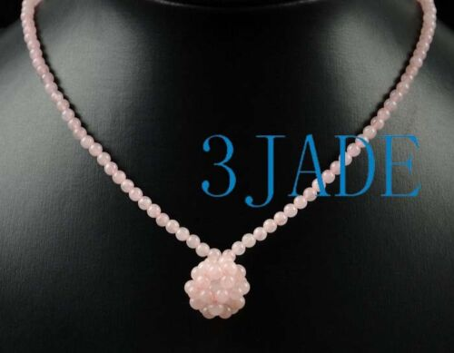 "16/"" Naturelle Quartz Rose Perles Collier"