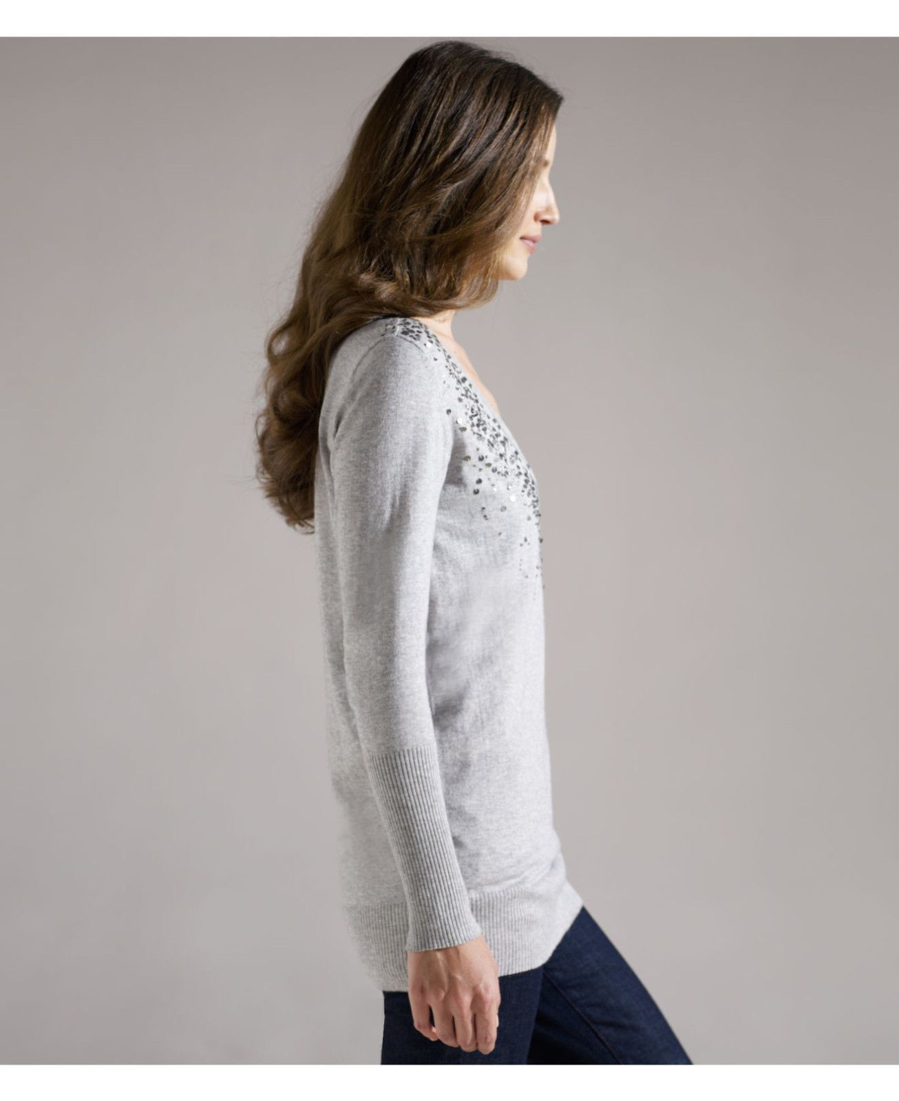 218 BNWT EILEEN FISHER Organic Organic Organic Cotton Cashmere w  Sequins DARK PEARL Long Top L 890dc1