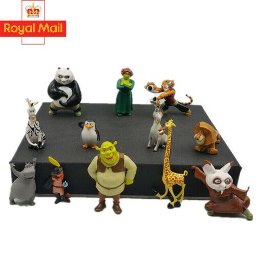 12pcs Anime Shrek Panda Madagascar Action Figures Model Toys Gifts for Kids UK