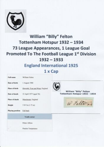 BILLY FELTON TOTTENHAM HOTSPUR 19321934 VERY RARE ORIGINAL HAND SIGNED CUTTING