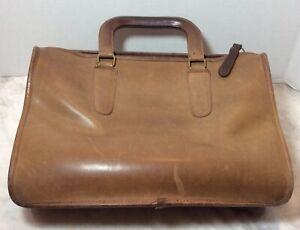 VINTAGE-1970-039-s-COACH-Brown-Leather-Handles-Briefcase-Handbag-Purse