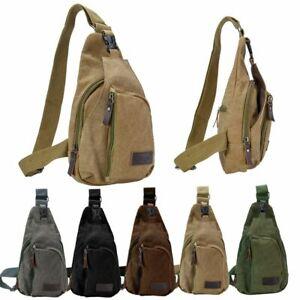 Men Canvas Shoulder Bag Travel Male Hiking Crossbody Messenger Sling Chest Bags