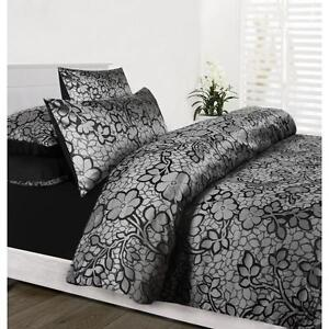 EMMA-Black-Silver-Jacquard-Quilt-Doona-Cover-Set-SINGLE-DOUBLE-QUEEN-KING