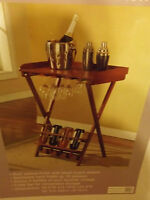 Solid Wood Folding Wine Rack Without Box Holds 4 Bottles 16 Glasses