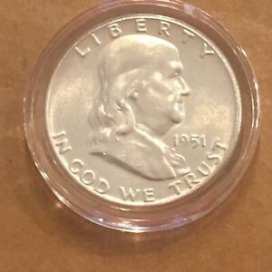 1951-P-BU-FRANKLIN-Half-Silver-Dollar-In-Air-Tite-Holder-Uncirculated-Coin-1951P