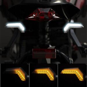 12V-Motorrad-LED-Blinker-Sequentiell-Blitz-Weiss-Tagfahrlicht-Wasserfest-Universa
