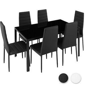 Conjunto de mesa y 6 sillas de comedor cocina set muebles vidrio sintético
