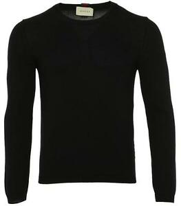 NEW-GUCCI-MEN-039-S-CURRENT-BLUE-KNIT-COTTON-WEB-DETAIL-SWEATER-S-SMALL