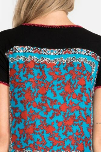 Johnny Was Nikky Drape Buttery Soft Black Tunic Top S with Blue Silk Back NWT