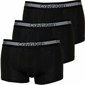 bd1257b65872 Calvin Klein 3-Pack Cooling Cotton Stretch Men's Boxer Trunks, Black ...
