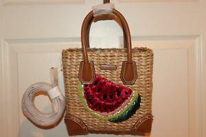 99252698085e Image is loading NEW-NWT-Michael-Kors-MALIBU-Embroidered-Straw-Watermelon-