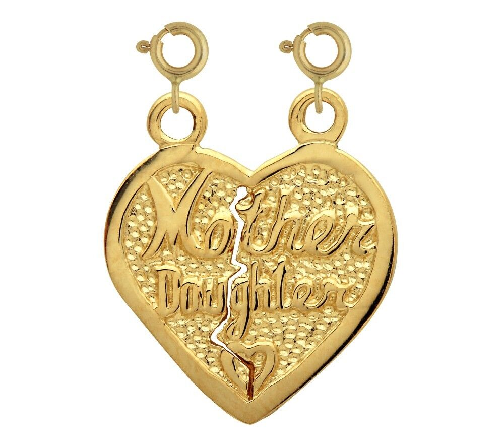 NEW 14k YELLOW gold MOTHER DAUGHTER BREAKABLE HEART CHARM PENDANT JEWELRY