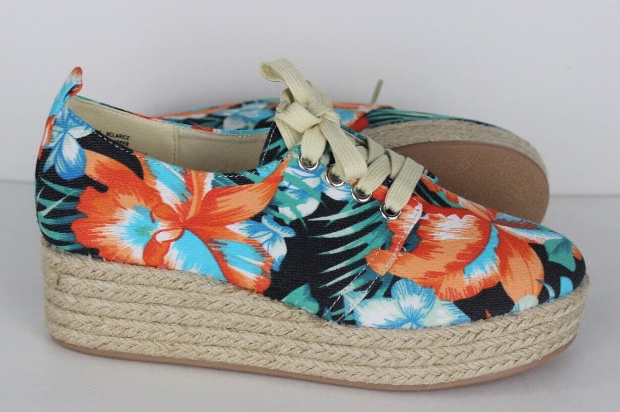 Nicole n clarice sneakers wedge textile upper flowers multicolor