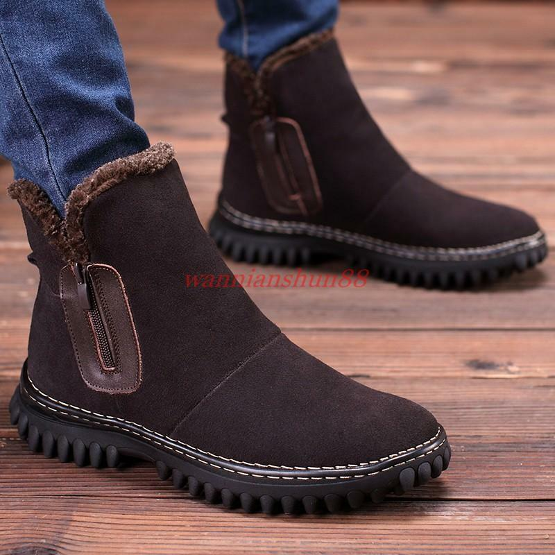Men's Fur Lined Zipper faux Suede winter Warm Snow AnkleBoot Casual shoes