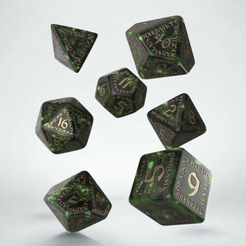 Q-workshop Entièrement neuf dans sa boîte runique bouteille-Green /& Gold Dice Set srun 98