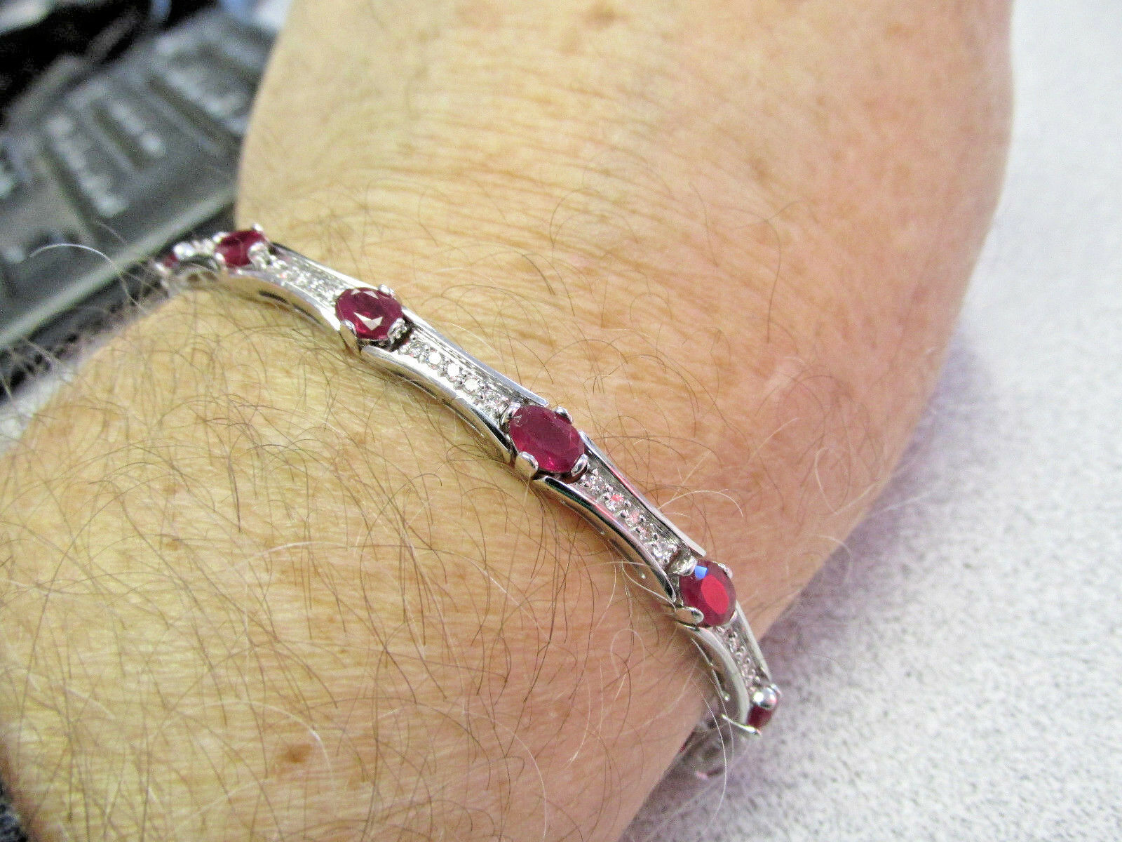 High Quality 4.00 ctw Ruby and Diamond Tennis Bracelet 14k White gold Make Offer
